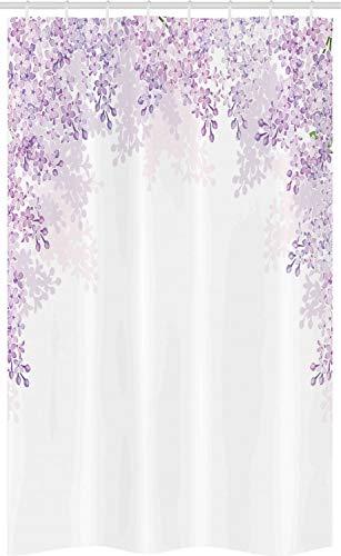 ABAKUHAUS Blume Schmaler Duschvorhang, Flieder blüht Frühling, Badezimmer Deko Set aus Stoff mit Haken, 120 x 180 cm, Blasses Violett Lavendel Weiß