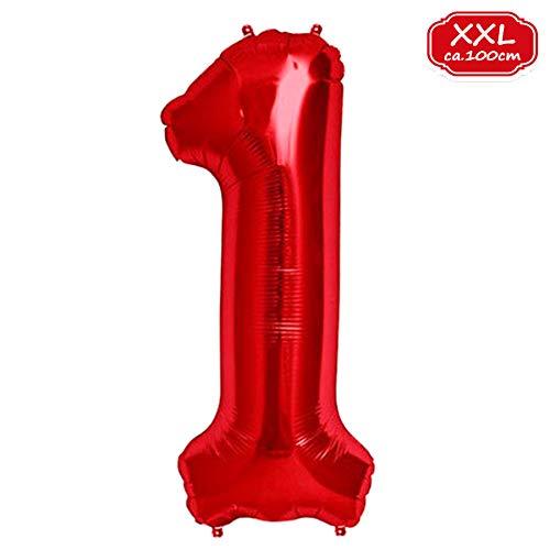 FUNXGO XXL Palloncino Numero [Circa 100 cm], Palloncino in Rosso [ 0 ~ 9 ] (Rosso [ 1 ])