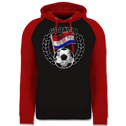 Shirtracer Fußball-Europameisterschaft 2021 - Croatia Flagge & Fußball Vintage - L - Schwarz/Rot - Russland Jacke - JH009 - Baseball Hoodie