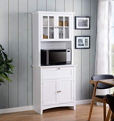 American Muebles clásicos OS hogar y Oficina Buffet y gallinero con Enmarcado en Puertas de Cristal y cajón, Grande, Color Blanco