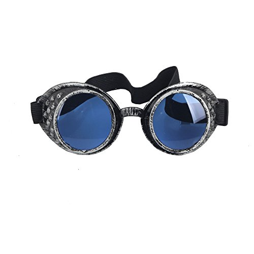 OMG_Shop Old Silver Frame Steampunk Goggles Glasses Vintage Victorian Welding Cosplay Goth Punk Costume (Blue Lens)