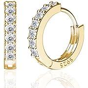 SWEETV 925 Sterling Silber Kleine Creolen für Frauen Mädchen, 14K vergoldete Zirkonia Huggies Ohrringe Hypoallergen Knorpel Ohrringe