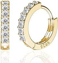 SWEETV 925 Sterling Silver Small Hoop Earrings for Women Girls, 14K Gold Plated Cubic Zirconia Huggies Earrings Hypoallergenic Cartilage Earrings