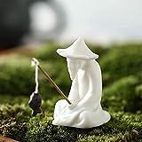 ASDF Hombre de pesca paisaje decoración del hogar regalos para estantería oficina café, pecera acuario estatuas artesanías, pequeñas figuras de cerámica esmaltadas adornos