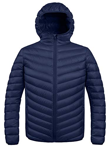 ZSHOW Men's Winter Hooded Packable Down Jacket(Navy,Large)