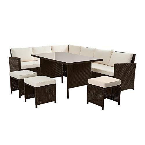 Panana Rattan Outdoor Garden Furniture Set 9 Seater Corner Sofa Lounge Set with Coffee Table Stool Conservatory Patio Brown