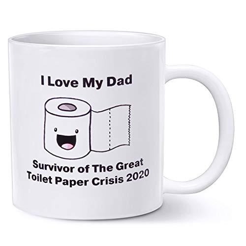 Rann.Bao Papá Taza, Taza Desayuno Personalizada 2020 Regalo Día del Padre Taza de Café Mug Patrón de Cuarentena Taza de Cerámica,Blanco 350ML 11.8 OZ,I Love My Dad