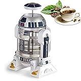 N / A Cafetera de Mano, cafetera de Filtro de Acero Inoxidable Mini Robot Home, Prensa de café con Filtro de Acero Inoxidable, Jarra de vacío de Acero Inoxidable Reutilizable