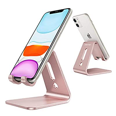 OMOTON Desktop Cell Phone Stand [Updated Solid Version], Advanced 4mm Thickness Aluminum Stand Holder for Switch, Mobile Phone (All Size), iPhone 11 Pro Xs Max Xr, Rose Gold from OMOTON