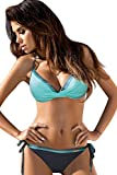 Tuopuda Mujeres Cuerda Push Up Bikini de Dos Piezas Halter Top Parte Inferior Triangular con Lado de Amarre Trajes de baño Bandeau