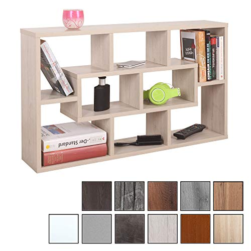 RICOO WM050-EP, Wandregal, 85x48x16 cm, Holz Eiche Picard Hell, Schmal, Mini, Hänge-Regal, Wand Bücher-Regal, Schwebe-Regal, Stand-Regal, Eck-Regal