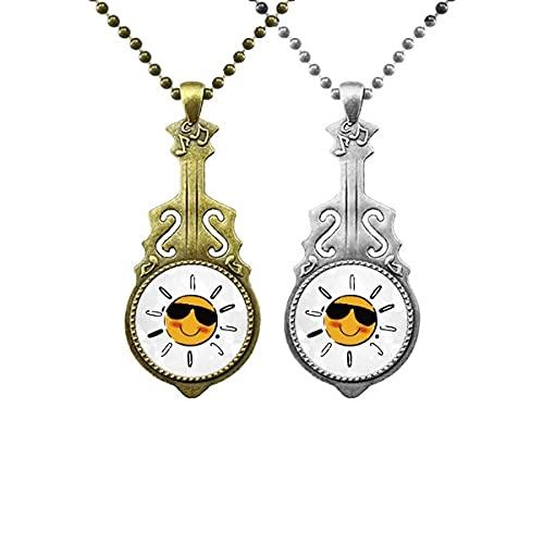 Sonnenbrillen Wetter Sonne Illustration Muster Liebhaber Musik Gitarre Anhänger Schmuck Halskette Anhänger