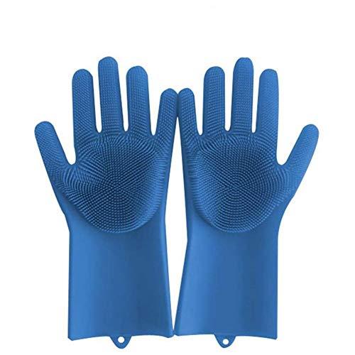 YUNGYE Magic Siliconen Schaal Wassen Handschoenen Keuken Accessoires Afwashandschoen Huishoudelijke Gereedschappen Voor Het Schoonmaken Auto Huisdier Borstel, 1 pair of, Blauw