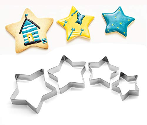 ShengHai Star Cookie Cutter Set, 4-Piece Stainless Steel Stars Cutters