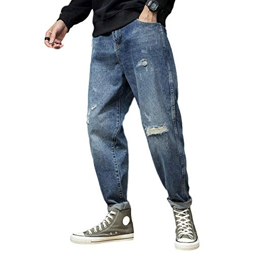 Jubaton Fall/Winter Boys Jeans Loose Patch Hole Large Size Pants Stretch Trend Harem Pants Distressed Casual Denim Trousers 28 Blue