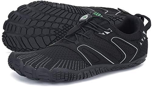 SAGUARO Barfussschuhe Herren Outdoor Fitnessschuhe Damen Barfuß Laufschuhe Walkingschuhe Minimalistische Zehenschuhe Traillaufschuhe St.1 Schwarz 43