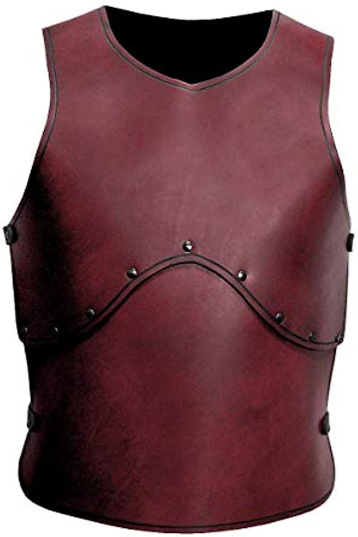 Andracor - Handgefertigte Krieger-Rüstung   Torso aus echtem Leder - LARP Mittelalter, Fantasy & Cosplay – Rot