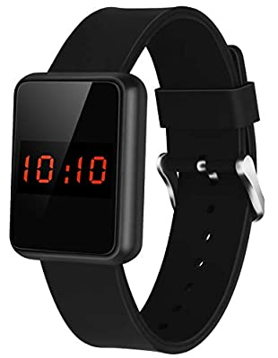 WUTAN Women's Digital Watch Sport Touch Screen Led Stylish Outdoor Electronic Watches for Womens Teens Girls with Silicone Band Black Reloj de Mujer