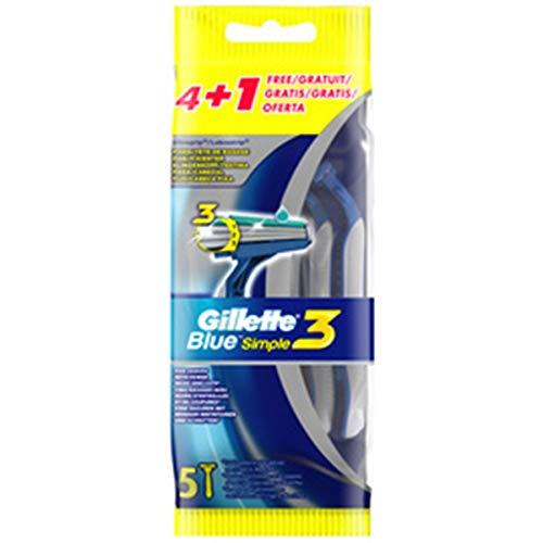Gillette Blue Simple3 wegwerp graveermachine voor mannen, 4 + 1 stuks, 1 x 5 stuks