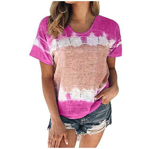 Aniywn Plus Size T-Shirt,Women Summer Casual O-Neck Short Sleeve Printing Patchwork Tunic Tops Basic Shirts Hot Pink