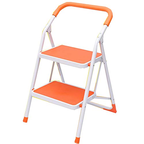 YLQC 2-Step Step Ladder,Portable Step Stool,Stepladders with Anti-Slip Sturdy and Wide Pedal,Household Work Use,330 Lbs (150kg), (Color : Orange)
