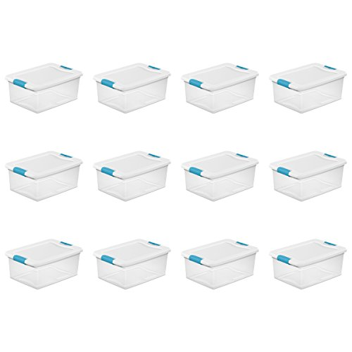 STERILITE 14948012 15 quart/14 L Latching Box (12 Pack)