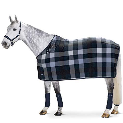 ESKADRON Abschwitzdecke Fleece Check (Classic Sports Frühjahr/Sommer 2020), navy-white-papaya, XL (155 cm)