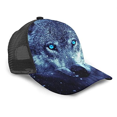 HARLEY BURTON Gorra de béisbol unisex con diseño de ojos azules, con diseño de lobo de nieve fría y muerta, de madera para verano, ajustable, empalme de Hip Hop