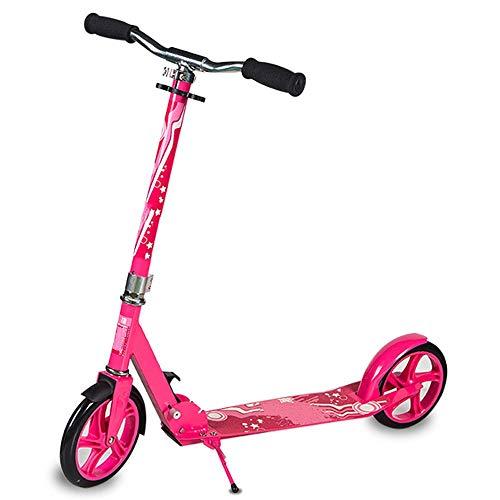 Un Scooter para Niños De 8 Años Y Adolescentes Y Un Scooter para Adultos De 2 Ruedas Y Ruedas Grandes Plegable, Cubierta Extra Ancha, Fácil De Montar (Color : Pink)