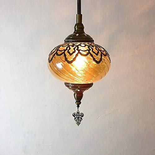 Hanger Licht, Retro Industrie Turkse Romantische Kroonluchter, Hand Geblazen Glas Opengewerkte Gesneden Staal Retro Restaurant Bar Decoratie Hanger Licht