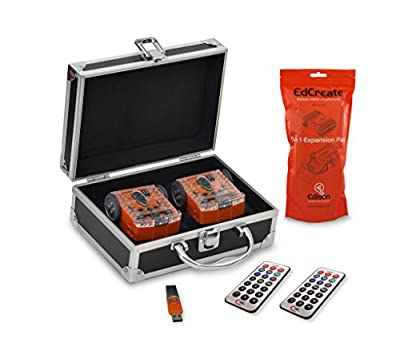 Contempo Views Edison Robot V2 Programmable Educational Bot STEM Coding Kit. Package Includes EdCreate, IR Remote, Carrying Case, USB with Software, Resources & Lesson Plans.