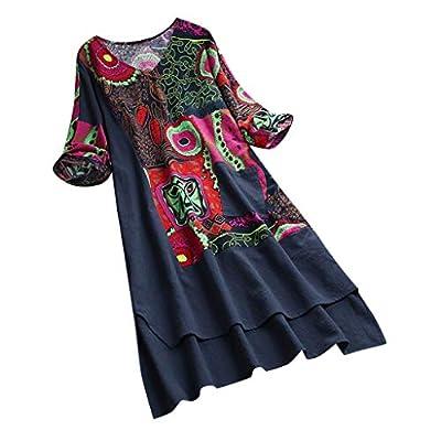 Women Vintage Dress,KIKOY High Low Hem Boho Print 3/4 Sleeves Casual Cozy Dress
