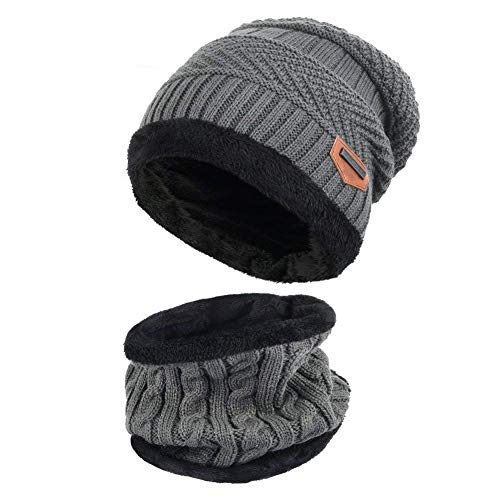 Aisprts Gorro Invierno con Bufanda  Calentar Sombreros Gorras Beanie de Punto Para Hombre Mujer (Gris)