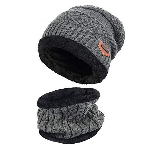 Aisprts Gorro Invierno con Bufanda, Calentar Sombreros Gorras Beanie de Punto Para Hombre Mujer (Gris)