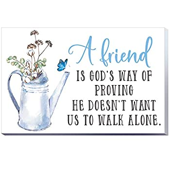 7.87 Inch Friendship Wooden Box Sign Wall Decoration Decor Friend is God s Way of Proving He Doesn t Want Us to Walk Alone Friends Block Room Home Table Centerpiece Wood Sign Desktop Decor