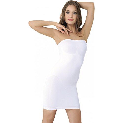 Formeasy Figurformendes Damen Miederkleid Trägerlos, Bauchweg Unterkleid, Body Shaper, stark Formende Unterwäsche Formwäsche (XL,Weiss)