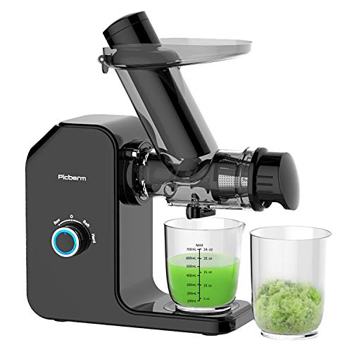 Juicer, Picberm PB2120A Slow Masticating Juicer Machines with Quiet Motor Easy to Clean, Wide Feed Chute Cold Press Juicer Extractor with Brush, Recipes for Fruits and Vegetables, BPA-Free Anti-drip Juicers Dishwasher Safe (Black)