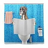 Wamika Duschvorhang mit Haken & Boxer-H&, sitzend auf der Toilette, wasserdicht, für Zuhause, Badezimmer, Tier, Welpe, blau, Dekoration, Stoff, Duschvorhang, schimmelresistent, 180 x 180 cm