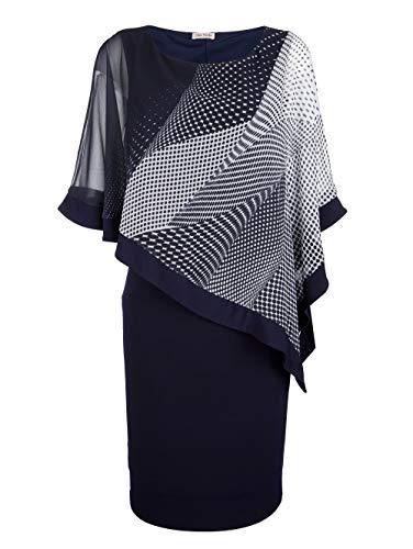 Alba Moda Kleid mit elegantem Chiffon Marineblau