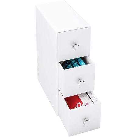 mDesign boite de rangement a tiroir – trieur de bureau avec 3 tiroirs tournants – organisateur de bureau pour un rangement optimal sur votre bureau – blanc