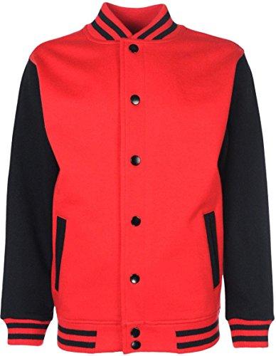 College-Jacke/Freizeitjacke - für Damen und Herren Farbe Rot/Schwarz Größe L