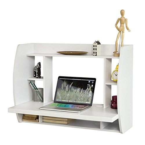 SoBuy FWT18-W, White Wall-mounted Table Desk with Storage Shelves and Drawers, Home Office Desk Workstation
