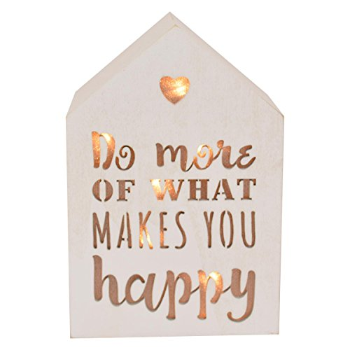 Do More Of What Makes You Happy Light Up House Shaped White Wooden Block Gift