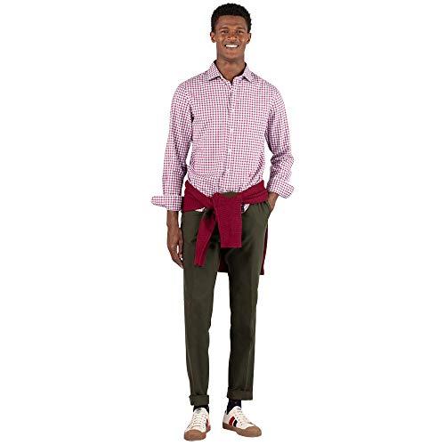 El Ganso Urban Oxford Camisa casual, Rojo (Granate 0028), Large para Hombre