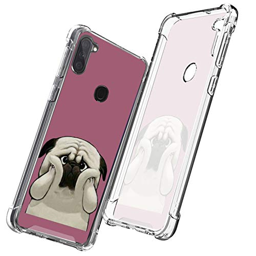 OOK Crystal Clear Case for Samsung Galaxy A11 French Bulldog Flexible Thin Case Slim Shockproof Soft Flexible TPU with Hard PC Cover for Samsung Galaxy A11