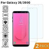 BESTCASESKIN [2-Pack Protector Pantalla Samsung Galaxy J8 2018, Cristal Templado [Cristal + Resina] Vidrio Templado con [3D Borde Redondo] [9H Dureza] [Alta Definicion]