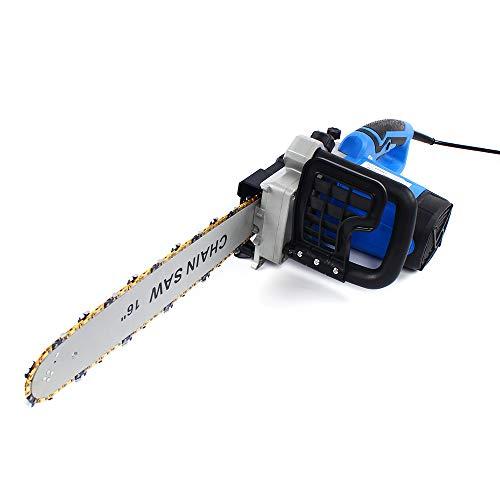 Romyix - Sierra eléctrica de cadena (2200 W, sierra eléctrica potente con barra de guía de 16 pulgadas)