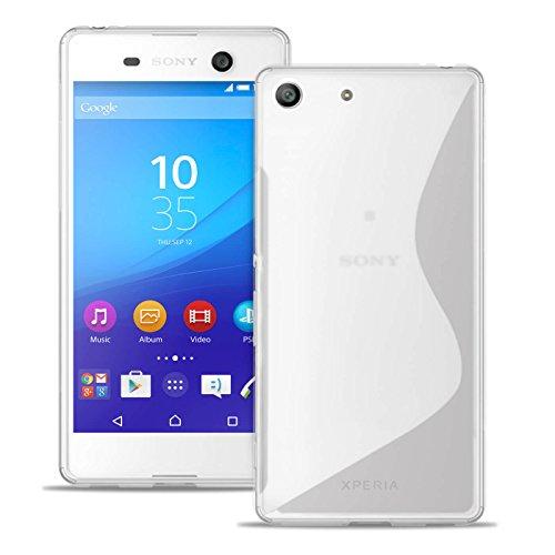 Custodia S-Line per Sony Xperia M5 in Bianco Trasparente | Borsa Tinta Unita |