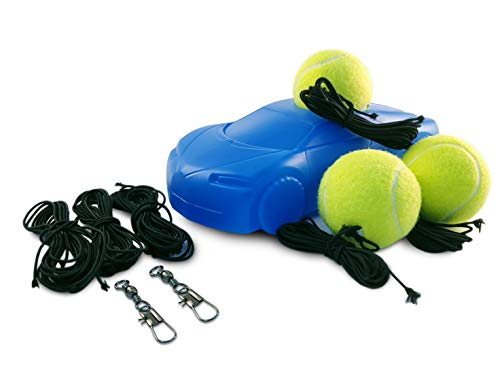AMNYHS Premium Tennis Trainer and Practice Rebounder with 6 Strings, 3 Balls and 2 Hooks Tennis Ball on a String Self-Trainer Tool