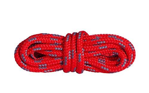 Mountval Schnürsenkel Hochwertige Schnürbänder für Outdoor- und Wanderschuhe | Extrem stark | 1 Paar (150 cm - 60 inch - 7 bis 8 Schnürösenpaare / 3184 - Rot mit Dunkelgrau)